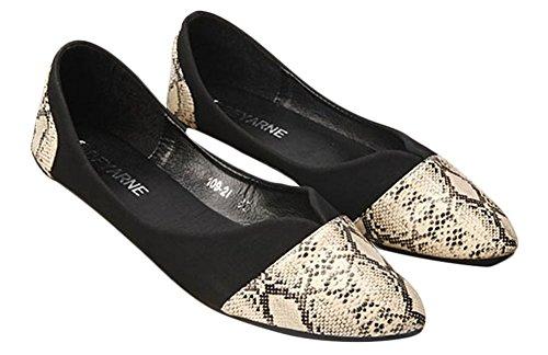 Geruite & Effen Womens Casual Snake Patroon Puntschoen Ballet Comfort Zachte Slip Op Platte Schoenen Zwart