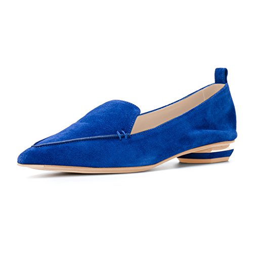 Fsj Women Fashion Scarpe A Punta Tacco Basso Mocassini Casual Slip On Summer Shoes Taglia 4-15 Us Blue-suede