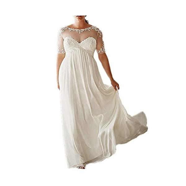 Drehouse Womens Chiffon Vintage Beach Wedding Dresses With