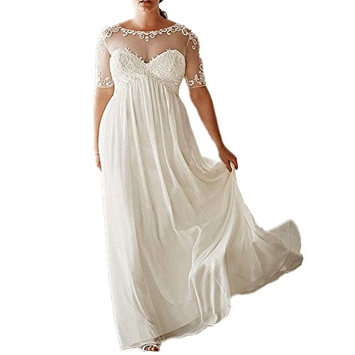 DreHouse Women's Chiffon Vintage Beach Wedding Dresses with Half Sleeves Plus Size