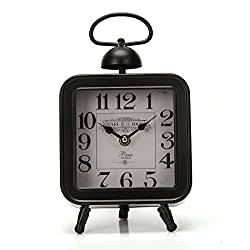 10.8x6.2 Handcrafted Metal Square Analog Quartz Desk Clock for Hanging or Tabletop Display,Glass on Front (Black,Cafe Tour)