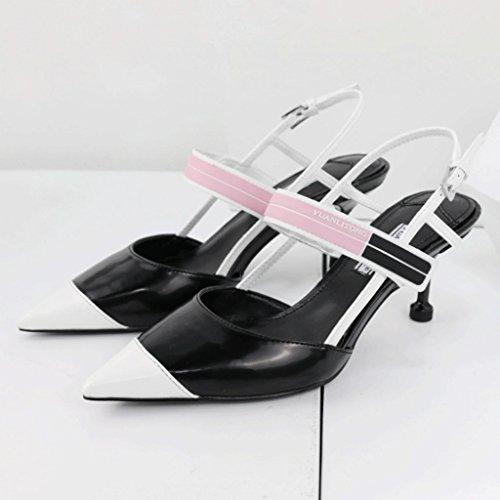 Gato Juego Mujeres Black Zapatillas cn35 5 Tamaño uk3 A Eu36 color Talón Color Donglu Para Sandalias Verano Solo 0vEqEwxp