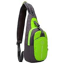 SLIN Ultralight (160G) Sport Chest Bag Sling Shoulder Unbalance Backpacks Crossbody Bag for Hiking Camping Gym Cycling Biking Dog Walking,Green