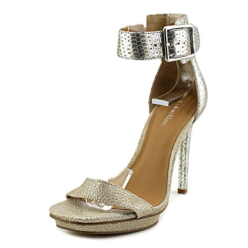 Calvin Klein Womens Vable Open Toe Ankle Strap Classic, Sand/Silver, Size 7.5