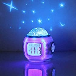 WENWEN 1Pcs Children Room Bedroom Sky Star LED Night Light Projector Clock Timer with Sleeping Music and Thermometer