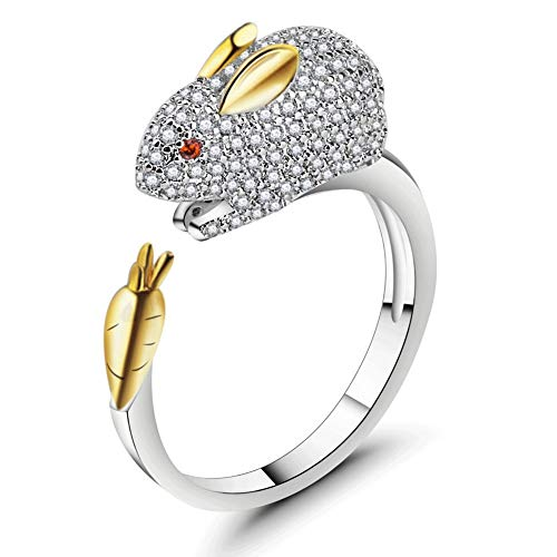 ATDMEI Rabbit Rings Sterling Silver Gifts for Women Gold Zircon Cuff Adjustable Chinese Zodiac Jewelry Gifts