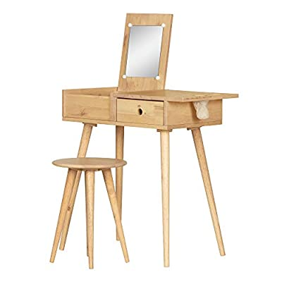 South Shore Furniture Sweedi Solid Vanity Table with Stool Set-Natural Wood: Kitchen & Dining