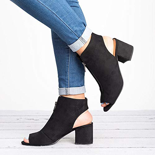 34f53469715 Amazon.com  Fashare Womens Open Toe Cut Out Sandals Chunky Stacked Low Heel  Ankle Strap Booties  Clothing