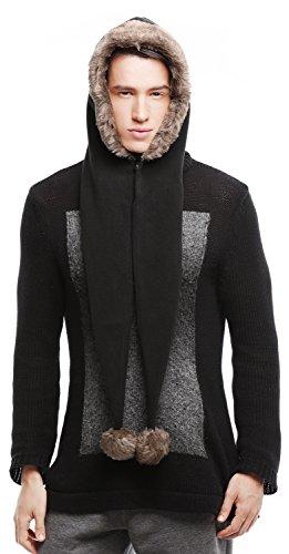 - Bellady Men Women Fleece Hooded Scarf Hat Double Layers Warm Hoodie Hat,Black