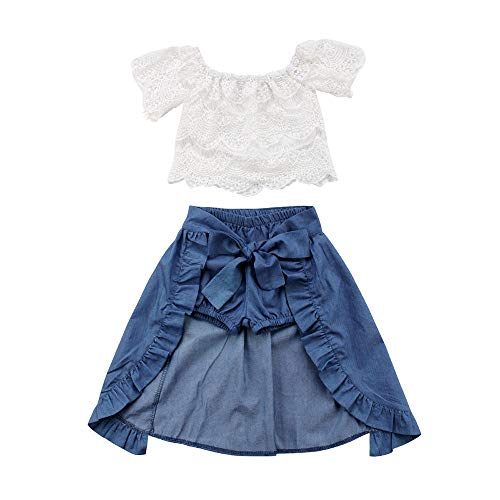 Styles I Love Baby Toddler Girl White Fashion Cotton Crop Top and Pants Summer Casual Outfit (Lace Crop Top + Skirt 3-pc Set, 100/3T)
