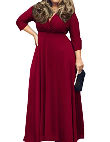 [POSESHE Women's Solid V-Neck 3/4 Sleeve Plus Size Evening Party Maxi Dress (XXXL, Wine Red)] (Plus Size Maxi Dresses)