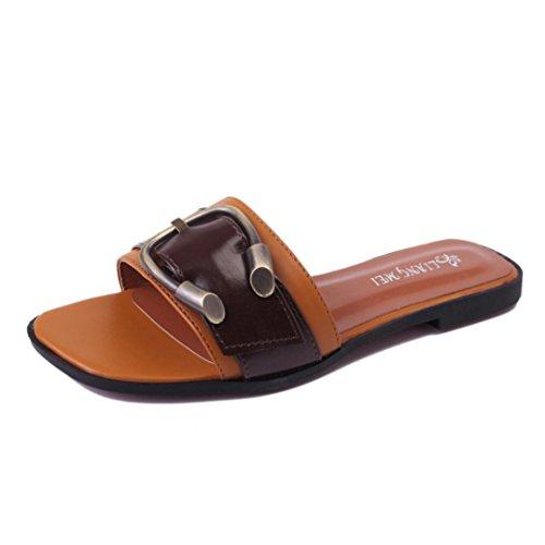Damen Sommer Schuhe Peep-Toe Halbschuhe Sandalen Gürtelschnalle Damen Flip Flops (35, Braun)