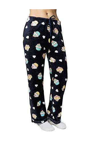 Women's Super Soft and Cute Minky Plush Fleece Pajama Pants (Large, Cupcake - Blue)