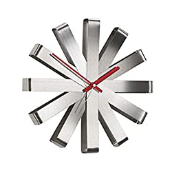 Wall Clock Ribbon Shape Stainless Steel Quartz Clock Wall Clock (Color : Stainless Steel)