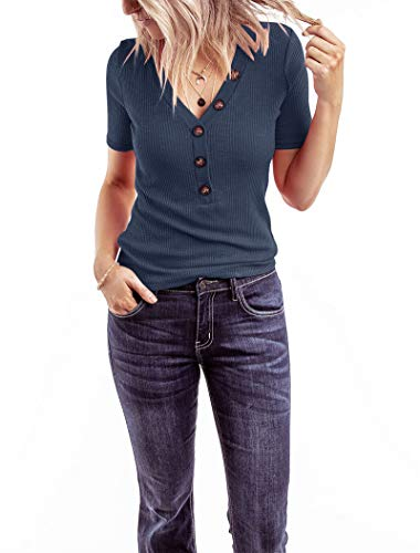 Minthunter Women's Short Sleeve V Neck Shirts Ribbed Basic Henley Tops Blue