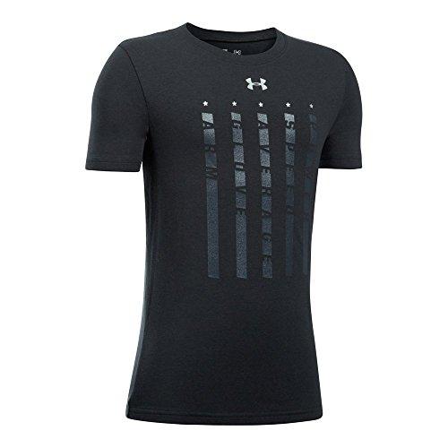 Under Armour Boys' Heater 5 Star T-Shirt,Black (001)/Metallic Silver, Youth ()