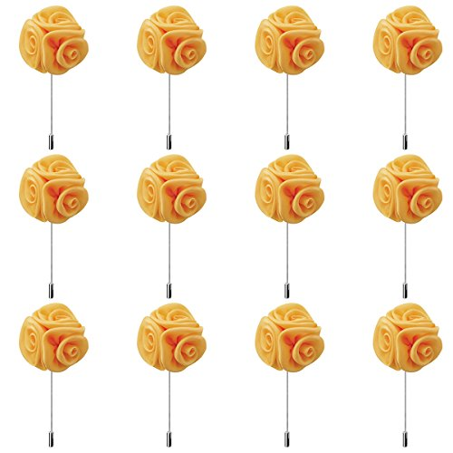 RareLove 12pcs White Lapel Pin Rose Wedding Boutonniere Set For Men Flower (Deep Yellow)