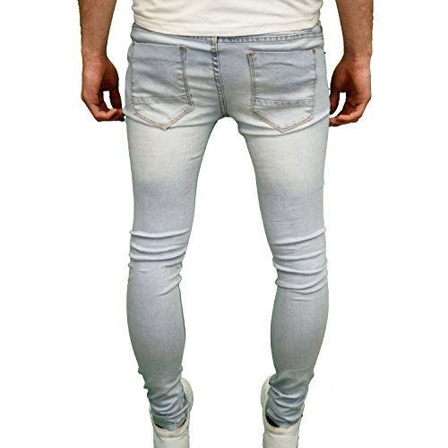 Skinny Fit Light Jeans Stretch Di Marca Uomo Blue Designer Soulstar qpwg4n