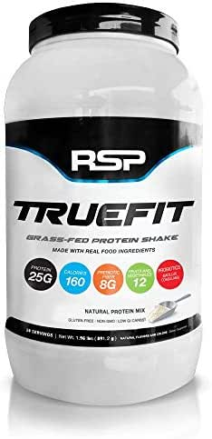 RSP TrueFit - Grass Fed Lean Meal Replacement Protein Shake, All Natural Whey Protein Powder with Fiber & Probiotics, Non-GMO, Gluten-Free & No Artificial Sweeteners, 2LB (Unflavored)