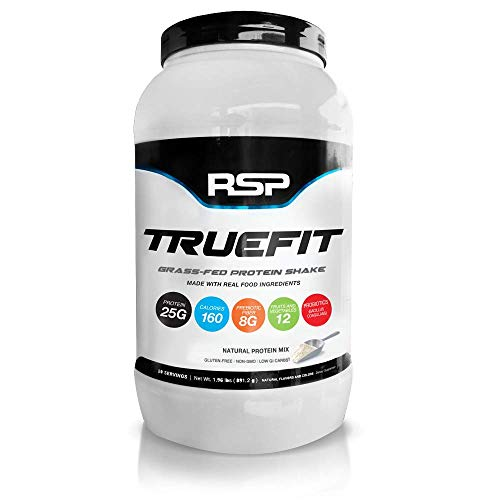 RSP TrueFit (New) - Natural, Grass-Fed Lean Meal Replacement Protein Shake, All Natural Whey Protein with Fiber & Probiotics, Gluten-Free & No Artificial Sweeteners, 2LB (Unflavored)