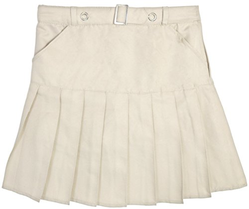 Beverly Hills Polo Club Girls School Uniform Belted Double Pleat Scooter, Khaki, Size 7' by Beverly Hills Polo Club