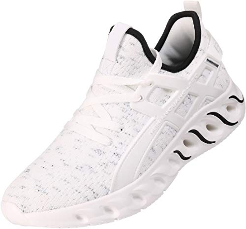 BRONAX Mens Tennis Shoes Male Lace up Slip on Lightweight Comfortable Fashion Stylish Gym Walking Casual Sports Athletic Sneakers for Men White Size 9