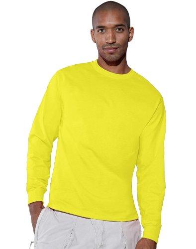 Hanes TAGLESS 6.1 Long Sleeve T-Shirt, XL-Safety Green