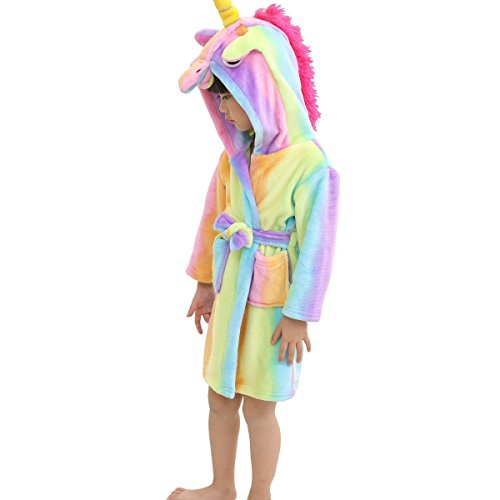 Lantop Kids Soft Bathrobe Comfy Unicorn Flannel Robe Unisex Hooded Gift All Seasons Sleepwear, Rainbow, 10-11 Years