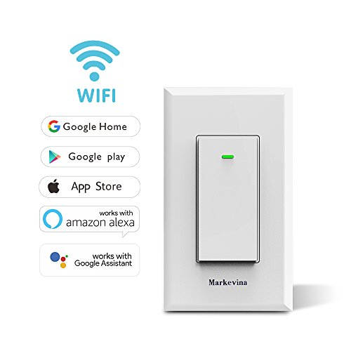 Smart WiFi Light Switch APP Wireless Control from Anywhere Compatible with Alexa Google Assistant Home, Timing Schedule Count Down, Overload Protection No Hub Required -15A Neutral Wire Required