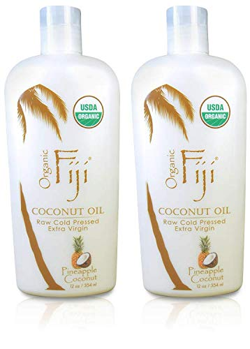 Organic Fiji Pineapple Coconut Raw Organic Coconut Oil (Pack of 2) made with USDA Certified Organic Cold Pressed Coconut Oil and Pineapple Coconut Oil, for Sensitive and Tender Skin, 12 oz For Sale