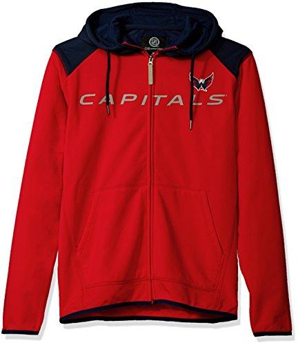 NHL Washington Capitals Men's Superset Full Zip Fleece Hoody, Medium, Red/Navy