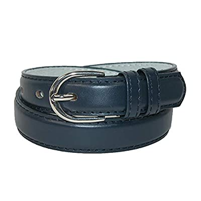 CTM Kid's Leather 1 inch Basic Dress Belt, Large, Navy