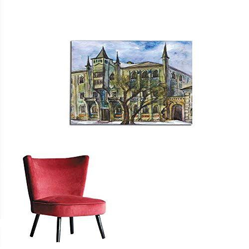 homehot Poster Wall Decor Mansion in The Gothic Style Watercolor Painting Mural -
