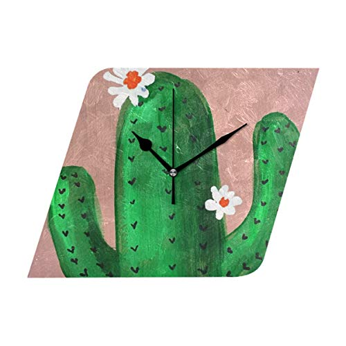 HangWang Wall Clock Watercolor Blooming Cactus Silent Non Ticking Decorative diamond Digital Clocks for Home/Office/School Clock by HangWang