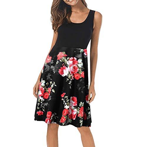 Womens Vintage Dresses Summer Beach Bohemian Sleeveless Flora Printed Strap Short Mini Dress Loose A-Line Dress Black