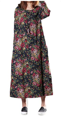 Jaycargogo Womens Imprimé Floral Rond Lin Cou Coton Lâche Robe Maxi À Manches Longues 3