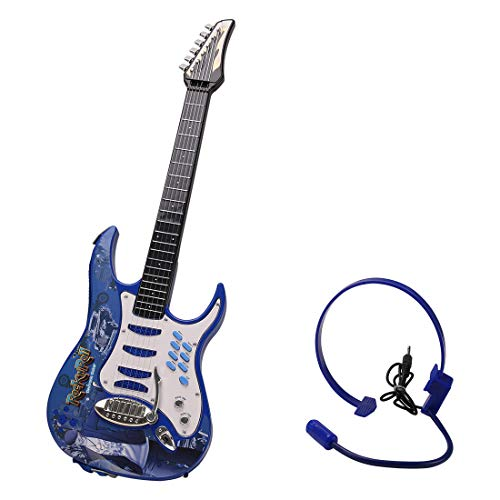 WOLFBUSH Electric Guitar for Children 6 Strings Guitar Toy with Earphone Early Educational Musical Instrument Toy for Toddler Boys Girls, 72×4×24cm (Blue)
