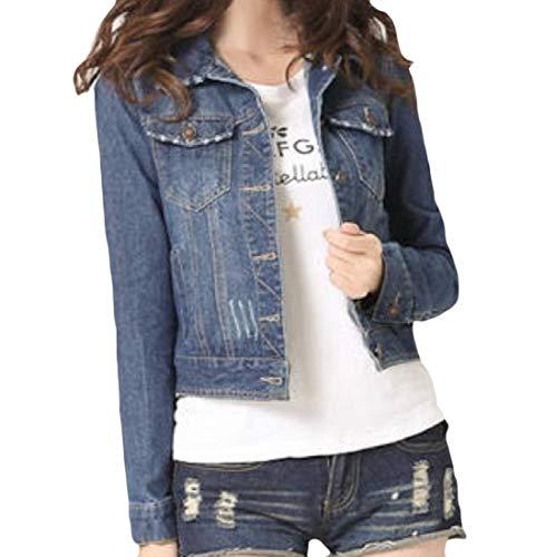 Unastar Women's Stylish Single Breasted Plus Size Jacket Short Denim Coat Dark Blue L