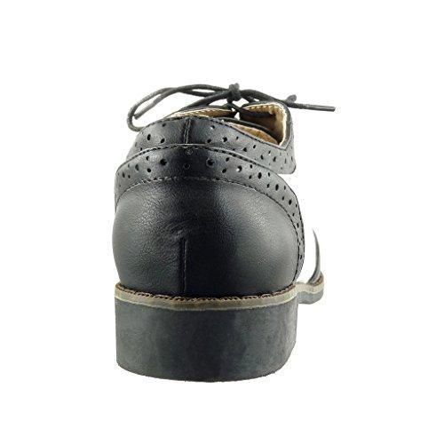Angkorly - Chaussure Mode Richelieu femme perforée finition surpiqûres coutures Talon bloc 2.5 CM - Noir