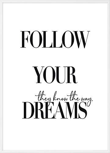 Declea Imprimer En Haute Qualite Poster Mural Avec Phrase Follow Your Dream Ideale Pour Deco Modernes Impression Avec Cadre En Aluminium Amazon Fr Cuisine Maison
