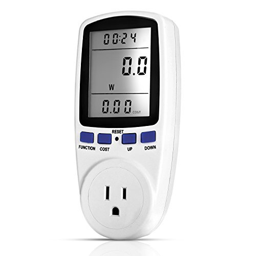 (Newforshop Electricity Usage Monitor Power Meter Plug Home Energy Watt Volt Amps KWH Consumption Analyzer with Digital LCD Display Overload Protection)
