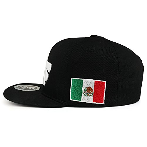 Trendy Apparel Shop Hecho En Mexico Eagle 3D Embroidered Flat Bill Snapback Cap - Black White by Trendy Apparel Shop (Image #1)