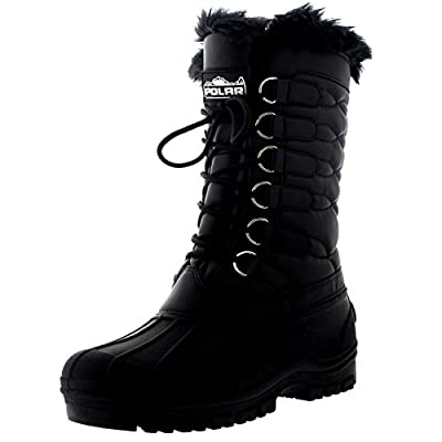 Polar Womens Nylon Cold Weather Outdoor Snow Duck Winter Rain Lace Boot