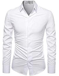 Super Stretchy Hide Button Point Wrinkle Free Dress Shirts