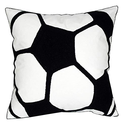 DECOPOW Embroidered Soccer Throw Pillow Covers,Square 18 inch Decorative Canvas Pillow Cover for Soccer Room Decor(Cover Only) -