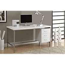 Monarch Specialties Hollow-Core/Silver Metal Office Desk, 60-Inch, White