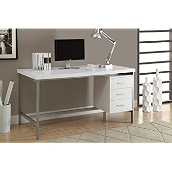 Captivating Monarch Hollow Core/Silver Metal Office Desk, 60 Inch, White