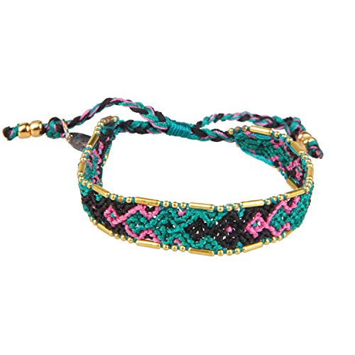 KELITCH Green/Black/Pink Boho Handmade Woven Braided Friendship Bracelet Wristband