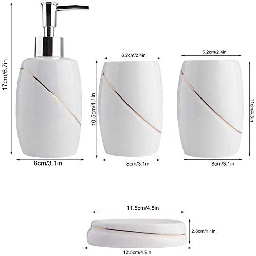 Cocoarm Bad Set Zahnb/ürstenhalter und Tasse Seifenkiste Golddraht Rand Badezimmer Zubeh/ör mit Seifenspender 5 teilig Bad Accessoires Set aus Keramik
