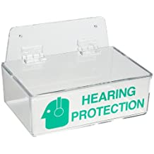 """Brady 2019L 3"""" Height, 9"""" Width, 6"""" Depth, Acrylic, Green on Clear Color Compact Ear Plug Dispenser with Cover, Legend """"Hearing Protection (With Picto)"""""""